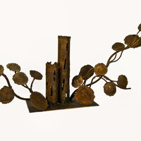 Mid-Century Modern Brutalist Metal Centerpiece Candle Holder 1960's Sculpture Vines