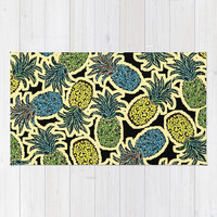 Pineapple Pandemonium - Retro Tones Area & Throw Rug by Lisa Argyropoulos