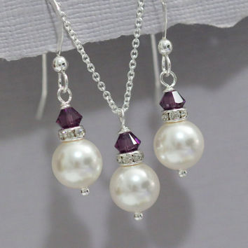 CUSTOM COLOR White Pearl and Purple (Amethyst Crystal) Necklace and Earring Set, Bridesmaid Jewelry Set, Bridesmaid Gift, Bridal Jewelry Set
