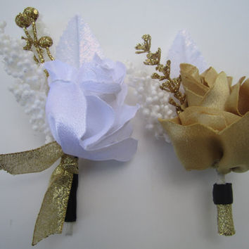 gold boutonniere wedding accessories prom party accessories Winter sparkly beautiful fabric boutonnieres