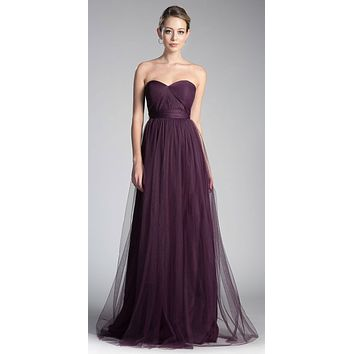 Tulle Infinity Style Long Bridesmaid Dress Eggplant