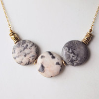 Statement Necklace : Autumn Jewelry - Triple Coin Flamingo Jasper Necklace, Gifts for her