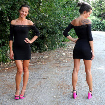 Strapless Sexy Feminine Super Tight Stretchy Mini Party Dress Eco Friendly Little Black Lace Dress Off Shoulder By Cvetinka