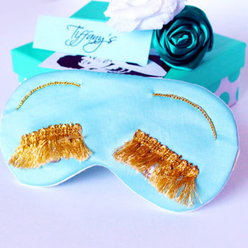 Holly Golightly satin sleep eye mask - Breakfast at Tiffany's party favor - Audrey Hepburn eye pillow with Eyelashes & Crystal beads