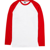 The Idle Man Long Sleeve Raglan- White Red