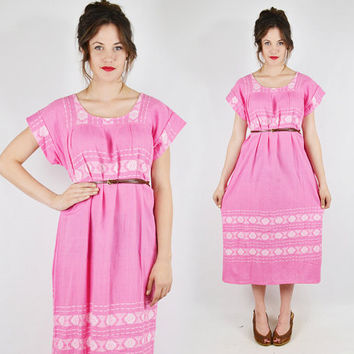 vtg 70s 80s boho hippie pink ethnic MEXICAN EMBROIDERED festival CAFTAN tunic midi maxi dress S M L