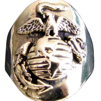 Navy Seal Ring US Marine Corps Crest in Bronze