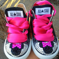 Minnie Mouse Inspired Bling Converse-Pink Minnie Mouse bling shoes