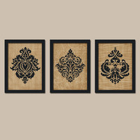 French Country Flourish Black Tan Beige Cream Chevron Pattern Artwork Set of 3 Trio Prints WALL Decor Abstract ART Picture