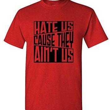 Summer Tops For Man Summer Cotton T-Shirt Fashion HATE US CAUSE THEY AINT US hip hop rap gag - concert t shirts