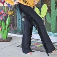 Black Fringe bell bottoms