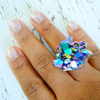 Raw Rock Crystal Druzy Ring -Titanium  Rainbow Aura Crystal - Adjustable