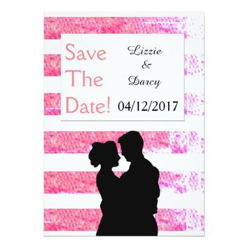 Pink Stripes Couple Silhouette - Save the Date! Card