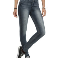 Cello Medium Blue 4-Button High-Waisted Skinny Jeans