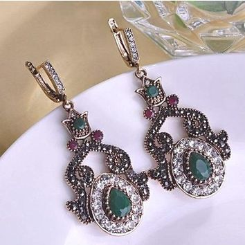 Fine Vintage Turkish Ruby and Emerald Earrings