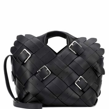 Woven buckle leather tote