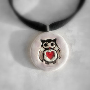 Owl Red Heart Choker, Ceramic Necklace, Owl Pottery Pendant, Lilac and Red, one of a kind