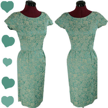 Vintage Dress 50s 60s Blue Green MAD MEN Cocktail Party Dress XS Sheath Wiggle Floral