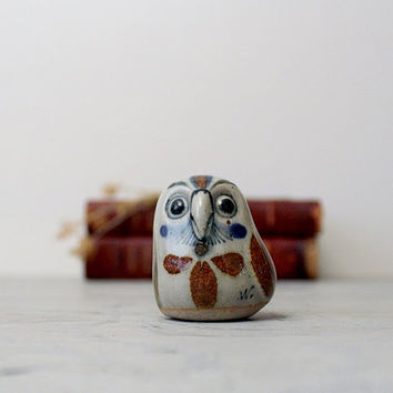 Vintage Mexican Folk Art Owl Figurine - Vintage Pottery Owl Clay Folk Art