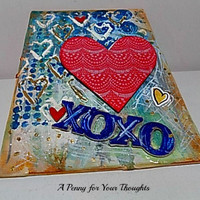 Hugs and Kisses Mixed Media Canvas Board. Ready to Ship