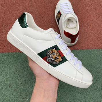 Gucci Tiger head embroidered leather white shoes