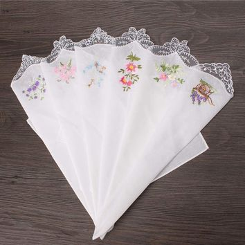 6PCS Vintage Cotton Women Napkin Embroidered Butterfly Lace Flower Hankies Floral Assorted Cloth Portable Ladies Handkerchief