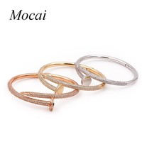 Fashion Crystal Nail Bracelet for Woman Zircon Paved Round Silver Gold Color Female Bracelets Bangles ZK20