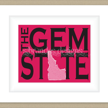 8x10 Idaho Print, The Gem State Map Art Custom Colors Typography