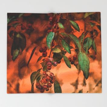 Red Berry Tree at Sunset Throw Blanket by Theresa Campbell D'August Art