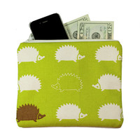 Cute Green Hedgehog Bag - Kawaii woodland animal zippered pouch clutch - Japanese cotton print fabric