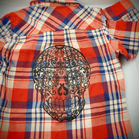 Boys Red Western Shirt. Black Skull Plaid Button Up Tattoo Top Size 18m Red Blue White Long Sleeve Flannel toddler Rockabilly Trendy Hipster