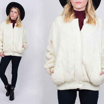 vintage 80s white knit bomber jacket puffy cable knit grandpa cardigan sweater coat oversized fisherman