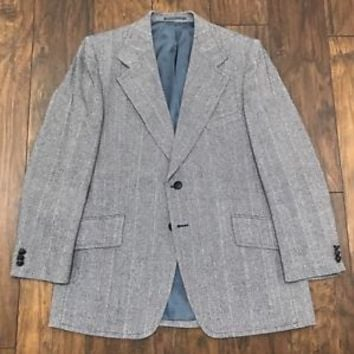 Vintage Louart California Wool Jacket Navy Blue Herringbone Sport Coat Mens 40R