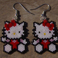 Hello Kitty Earrings Hand Made Seed Beaded