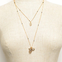 Evil Eye And Hamsa Mixed Layered Dainty Necklace