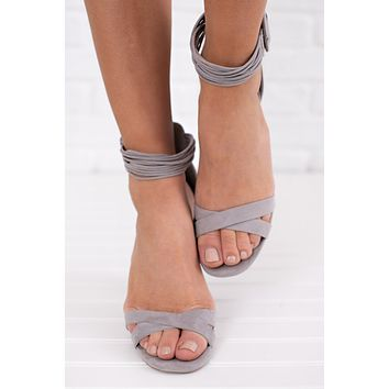 Ladies Night Strappy Heels (Light Grey)