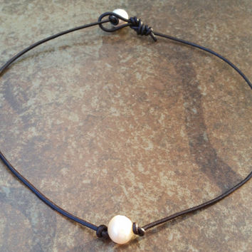 Leather Pearl Necklace - Dark Brown 2mm Genuine Leather Cord - 11-14mm Natural Freshwater Pearls