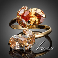 AZORA 18K Gold Plated Double Flowers Champagne Swiss Cubic Zirconia Waterdrop Adjustable Size Ring TR0141
