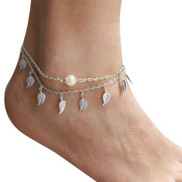 Feather Leaf Cute Women Ankle Bracelet Ladies Anklet Ankle Chain Leg Jewelry Gold Silver Color