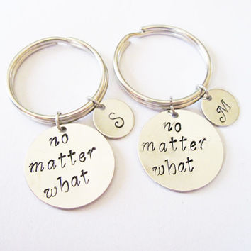 no matter what, Hand Stamped Jewelry, Long Distance, Moving Away Gift, Best Friend Gift, Graduation keychain, Set of 2 initial keychain bff