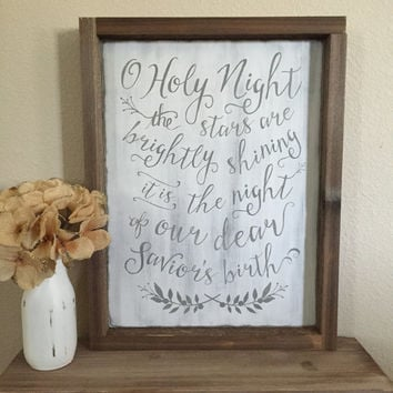 "Distressed Christmas Wood Sign - ""O Holy Night"" - Rustic Decor"