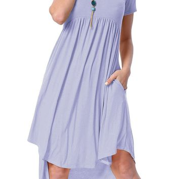 Chicloth Mauve Short Sleeve High Low Pleated Casual Swing Dress