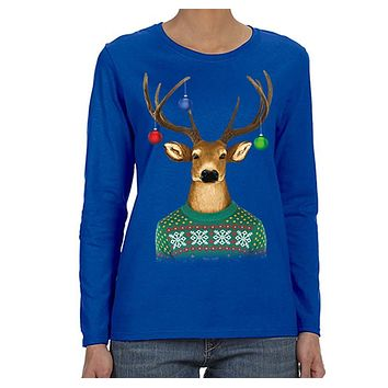 XtraFly Apparel Women's Reindeer Wearing  Sweater Ornaments Ugly Christmas Long Sleeve T-Shirt
