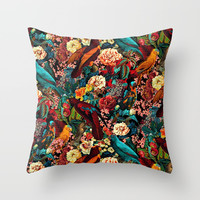 FLORAL AND BIRDS XVII Throw Pillow by burcukorkmazyurek