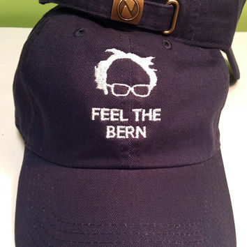Feel The Bern Bernie Sanders 2016 Hat Cap DEMOCRATIC Presidential Nominee adjustable. Embroidered in USA.