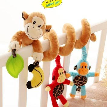 baby bed hanging infant baby mobile crib educational cartoon Monkey Stroller Crib musical Rattles/Mobile for Kids pattern toys
