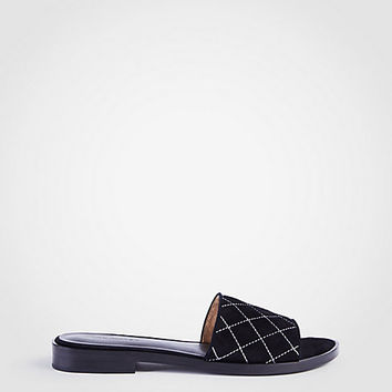 Lyra Suede Quilted Slide Sandals | Ann Taylor