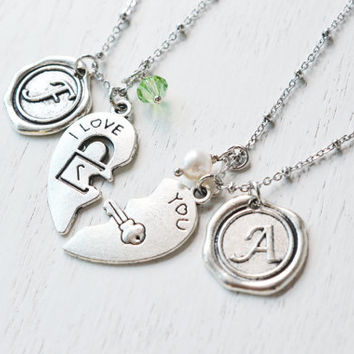 personalized couples necklace,key to my heart jewelry,matching couple anniversary gift,initial jewelry,wax seal necklace,husband and wife