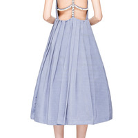 Grey Backless Midi Dress With Pearl Embellishment by Natasha Zinko - Moda Operandi