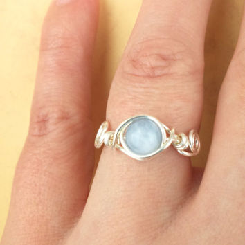 Aquamarine ring, Silver Wire, March Birthstone Ring, Wire Jewellery, Semi Precious Ring, Healing Stones, Gem jewellery, Boho Chic